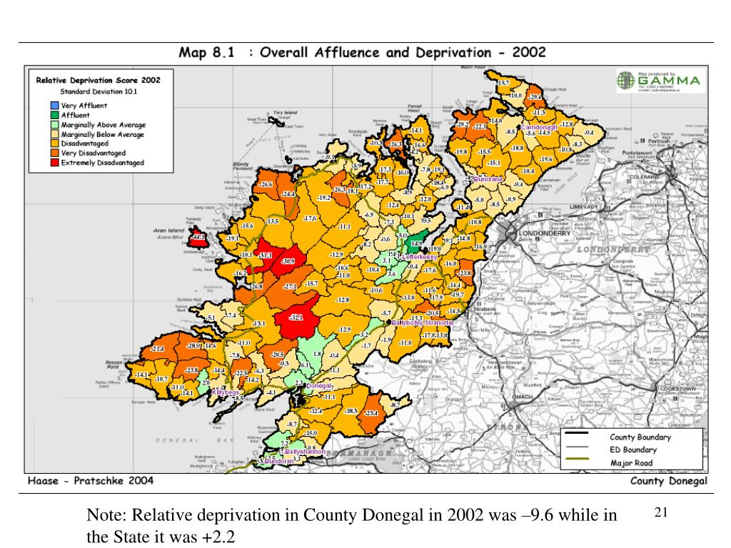 Note: Relative deprivation in County Donegal in 2002 was –9.6 while in the State it was +2.2