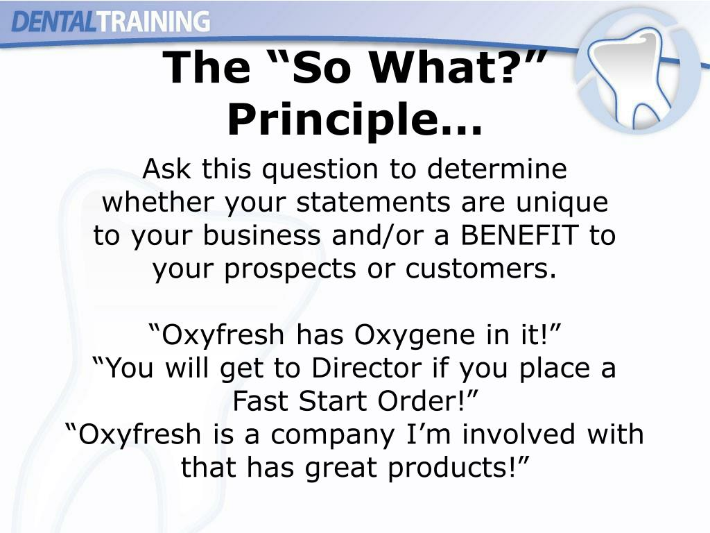 "The ""So What?"" Principle…"