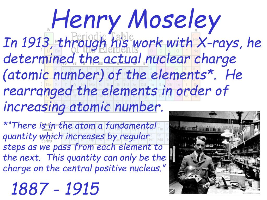 In 1913, through his work with X-rays, he determined the actual nuclear charge (atomic number) of the elements*.  He rearranged the elements in order of increasing atomic number.