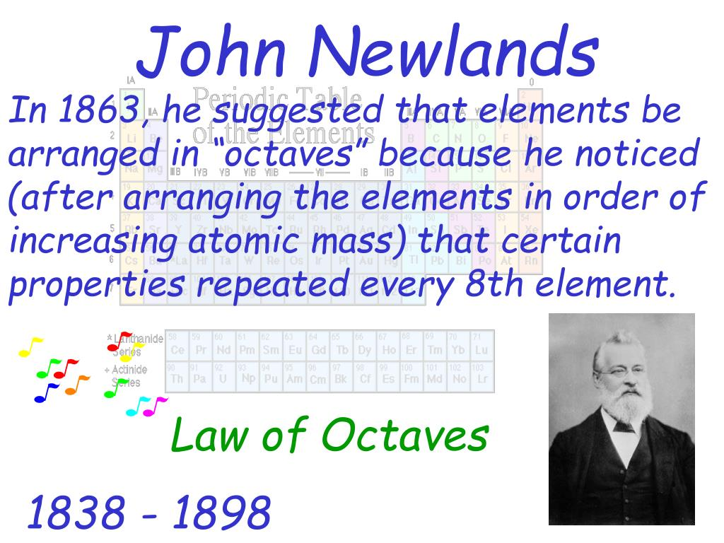 "In 1863, he suggested that elements be arranged in ""octaves"" because he noticed (after arranging the elements in order of increasing atomic mass) that certain properties repeated every 8th element."