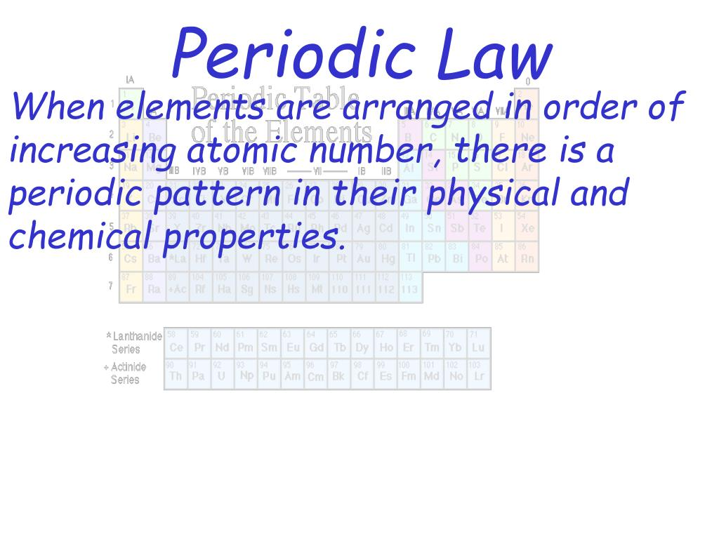 When elements are arranged in order of increasing atomic number, there is a periodic pattern in their physical and chemical properties.