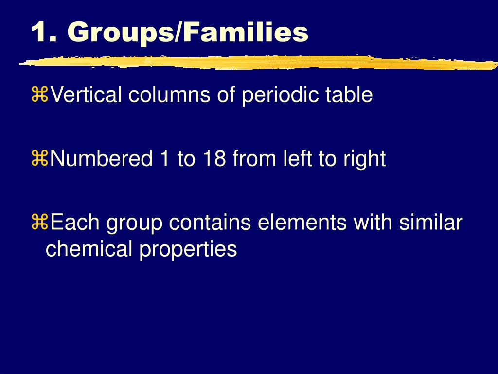 1. Groups/Families