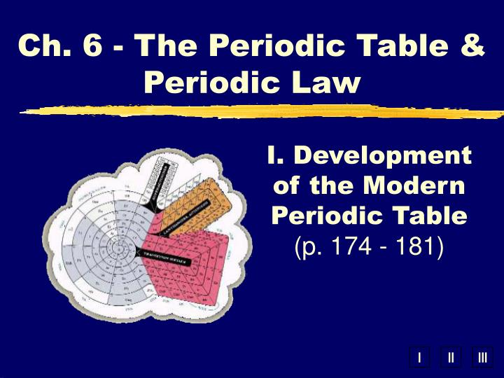 Ch 6 the periodic table periodic law
