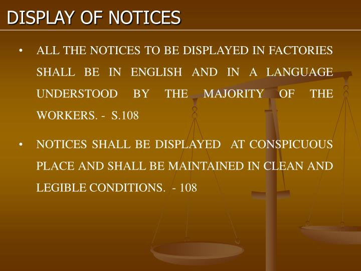 DISPLAY OF NOTICES