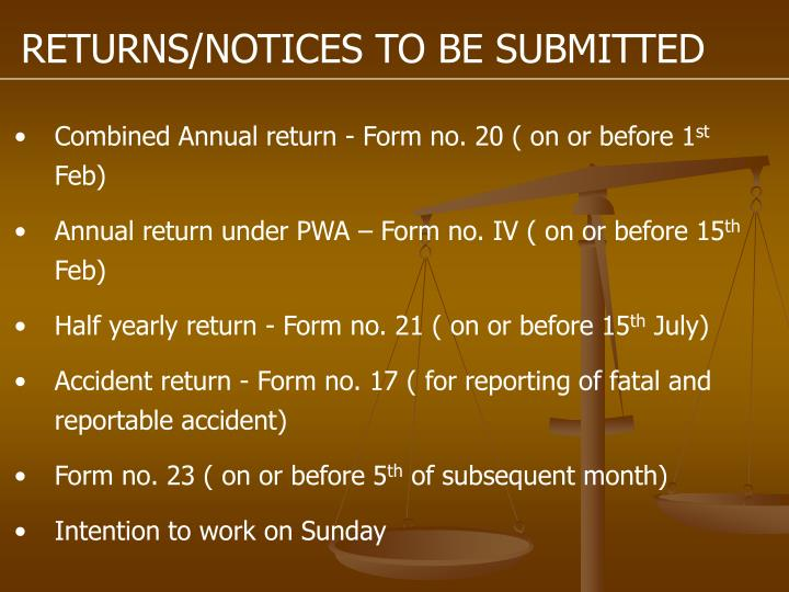 RETURNS/NOTICES TO BE SUBMITTED