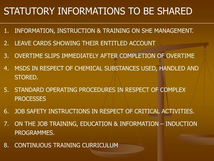 STATUTORY INFORMATIONS TO BE SHARED