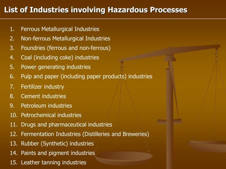 List of Industries involving Hazardous Processes