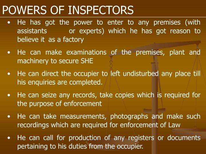 POWERS OF INSPECTORS