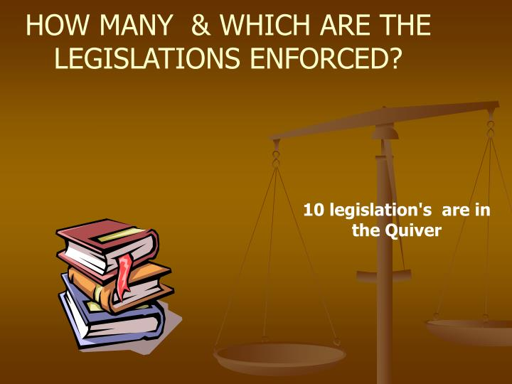 HOW MANY  & WHICH ARE THE LEGISLATIONS ENFORCED?