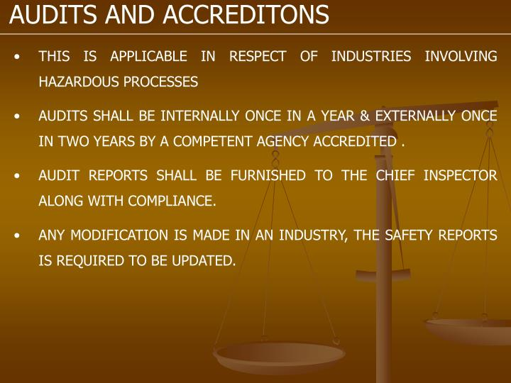 AUDITS AND ACCREDITONS