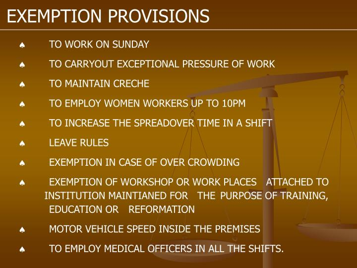 EXEMPTION PROVISIONS