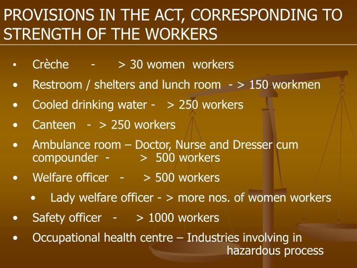 PROVISIONS IN THE ACT, CORRESPONDING TO STRENGTH OF THE WORKERS