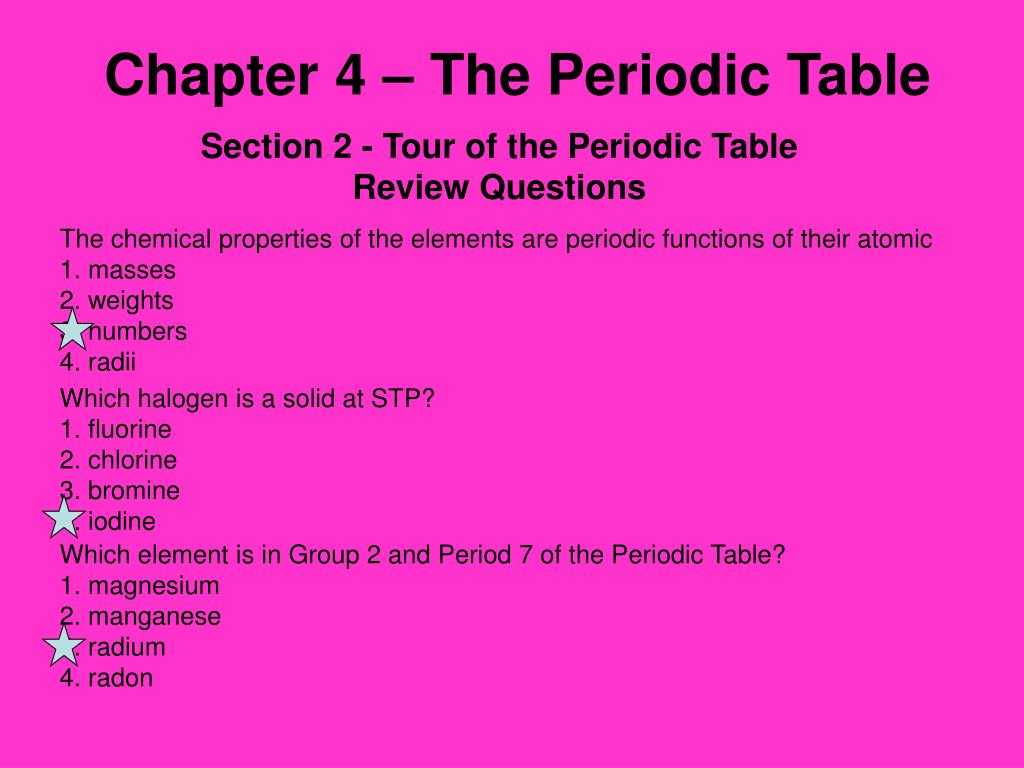Chapter 4 – The Periodic Table