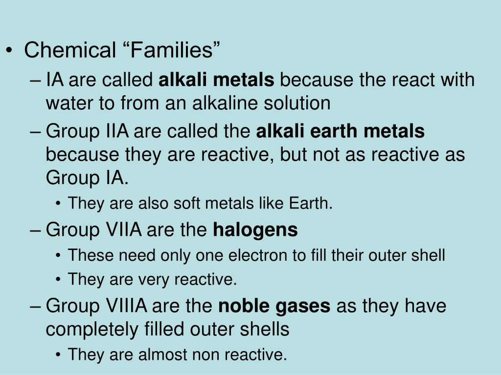 "Chemical ""Families"""