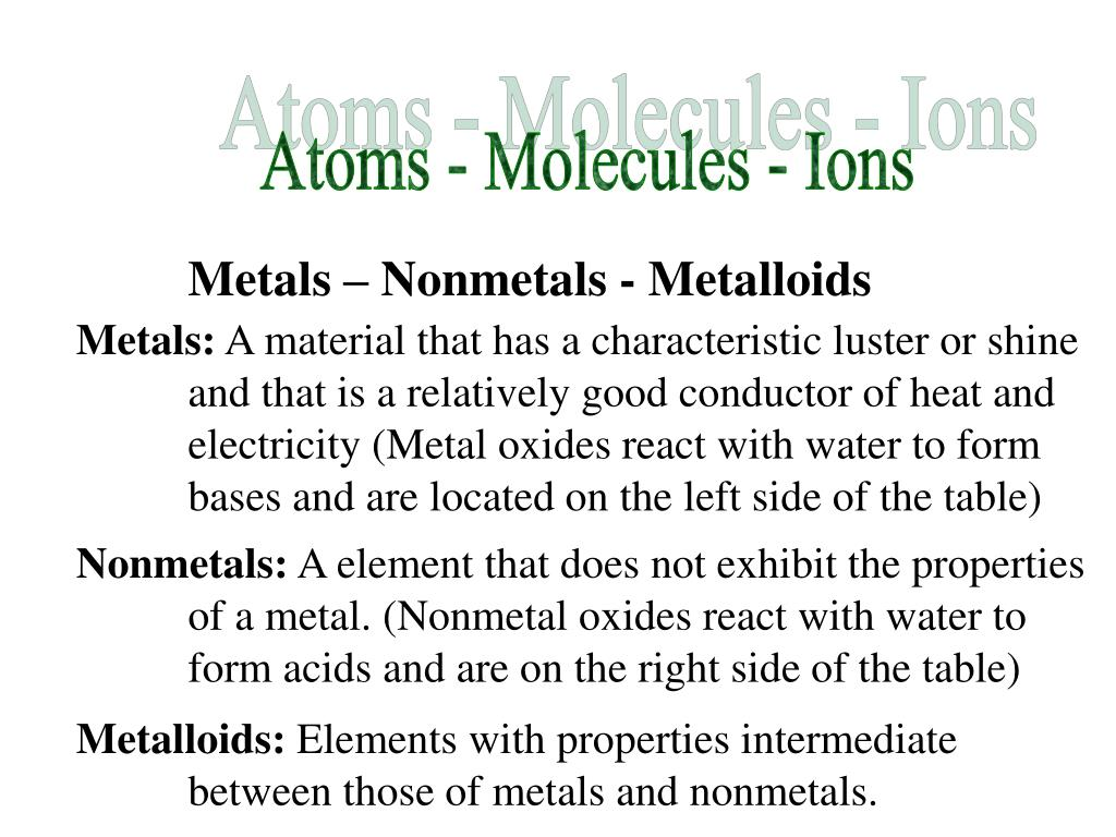 Atoms - Molecules - Ions