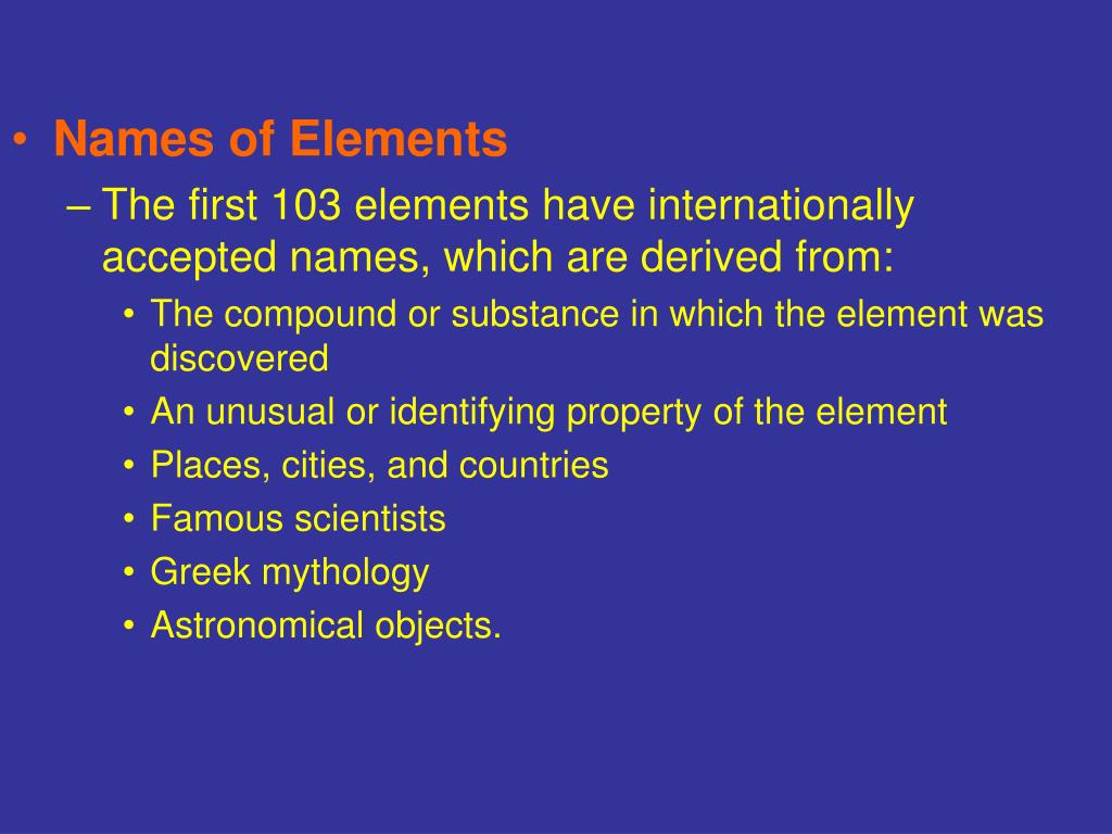 Names of Elements