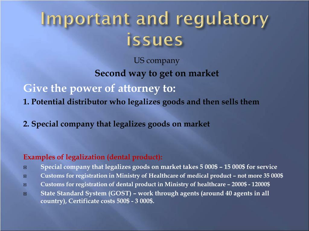 Important and regulatory issues
