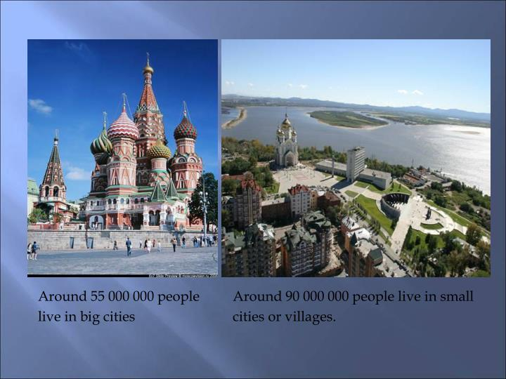 Around 55 000 000 people	Around 90 000 000 people live in small