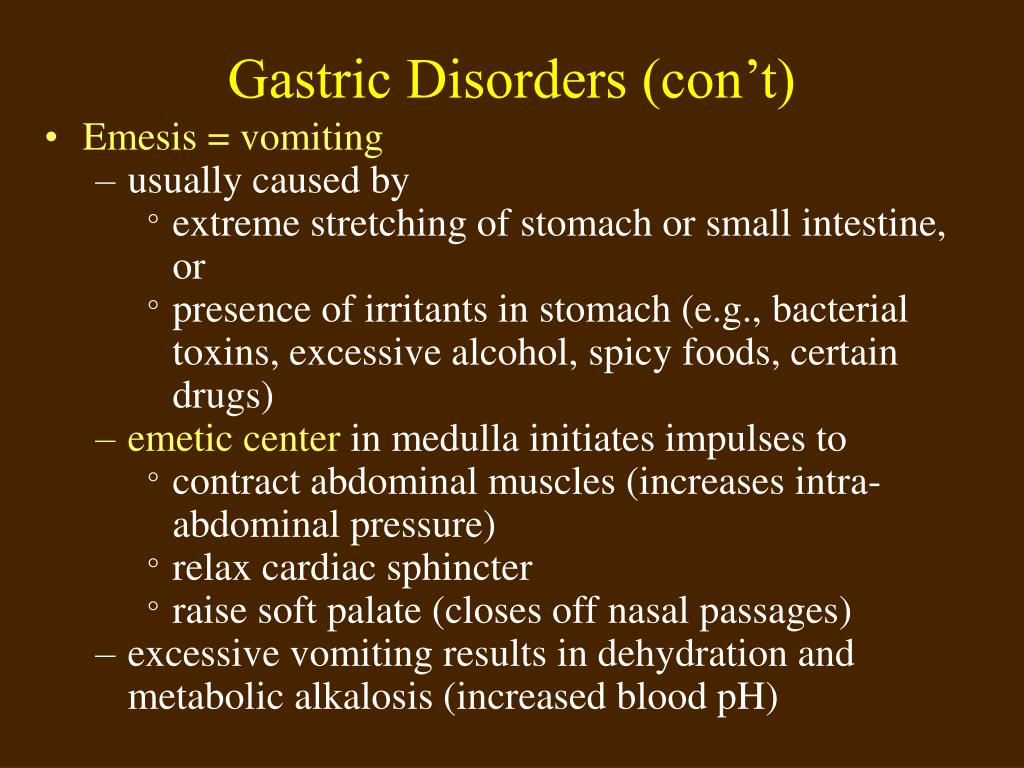Gastric Disorders (con't)
