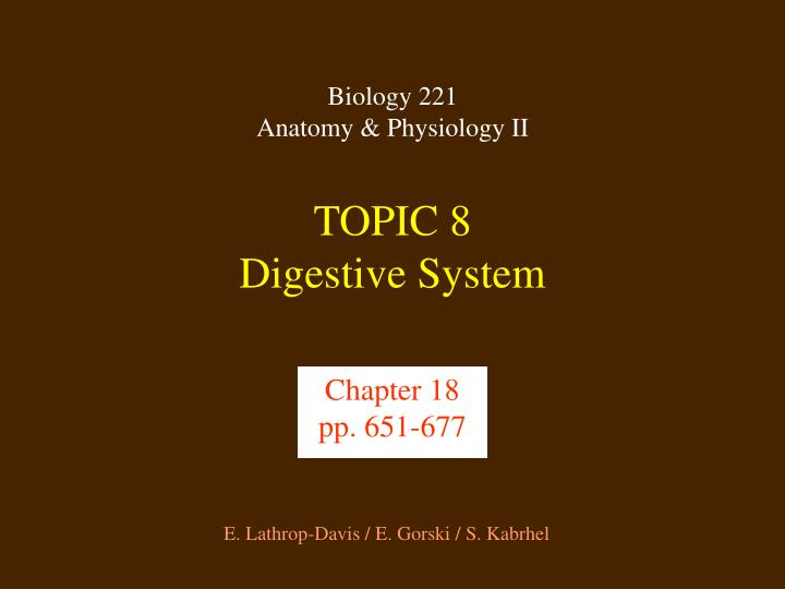 Topic 8 digestive system
