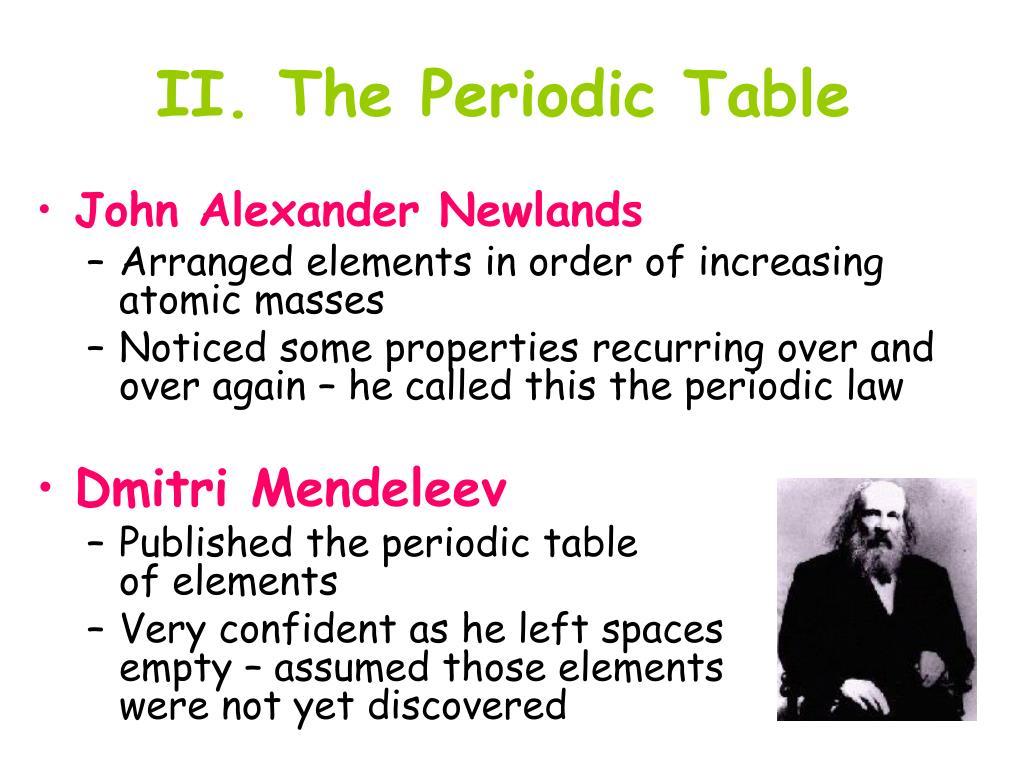 II. The Periodic Table