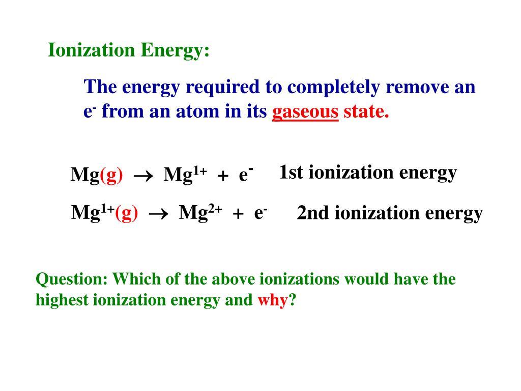 Ionization Energy: