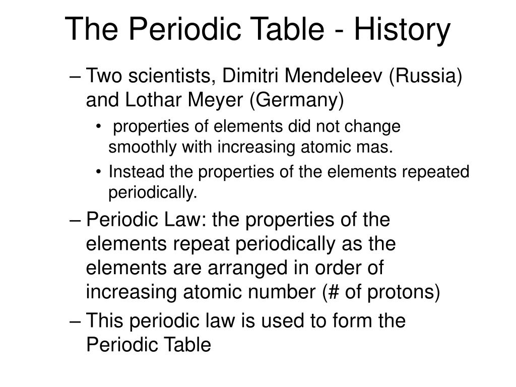 The Periodic Table - History