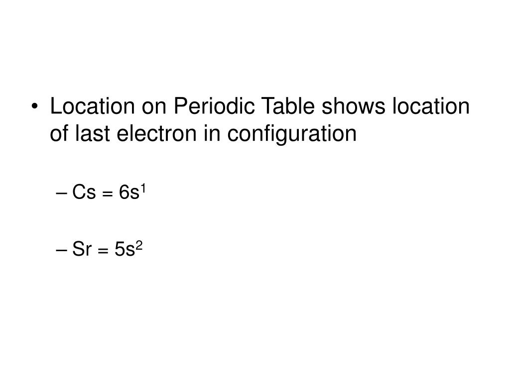 Location on Periodic Table shows location of last electron in configuration