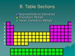 b table sections