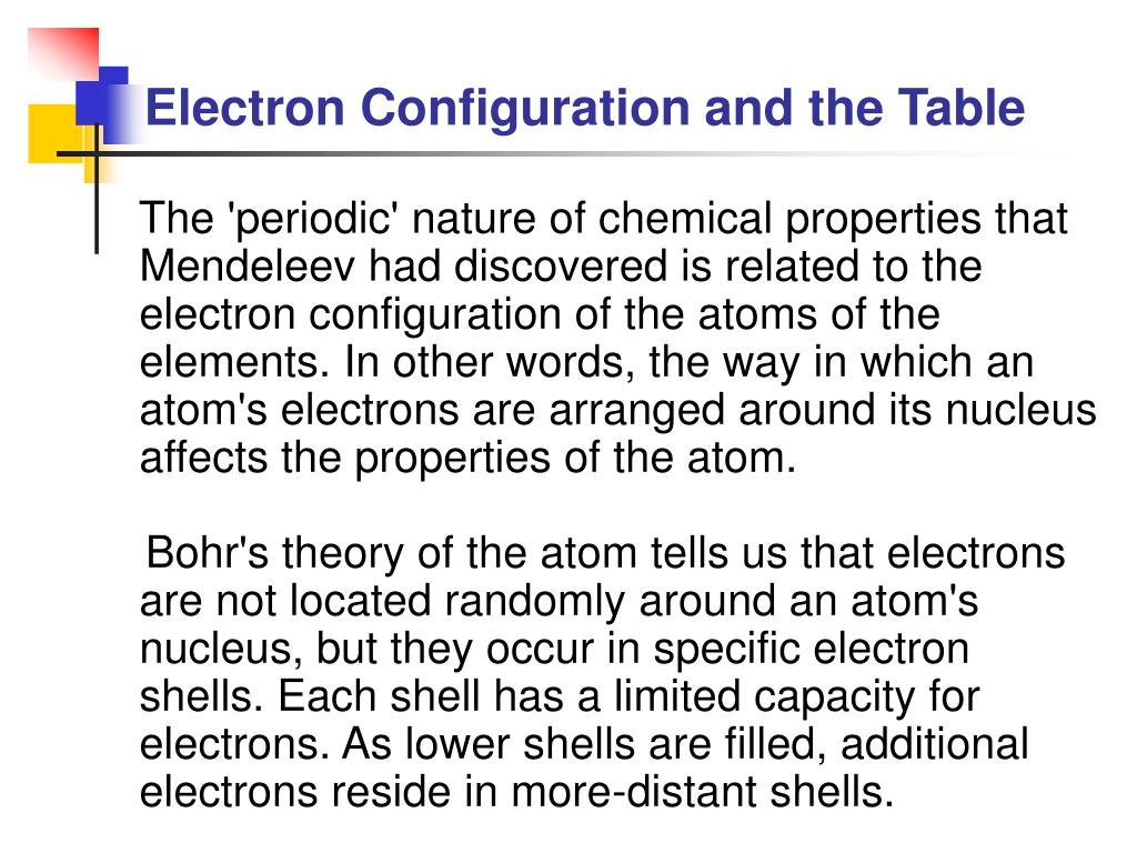 Electron Configuration and the Table