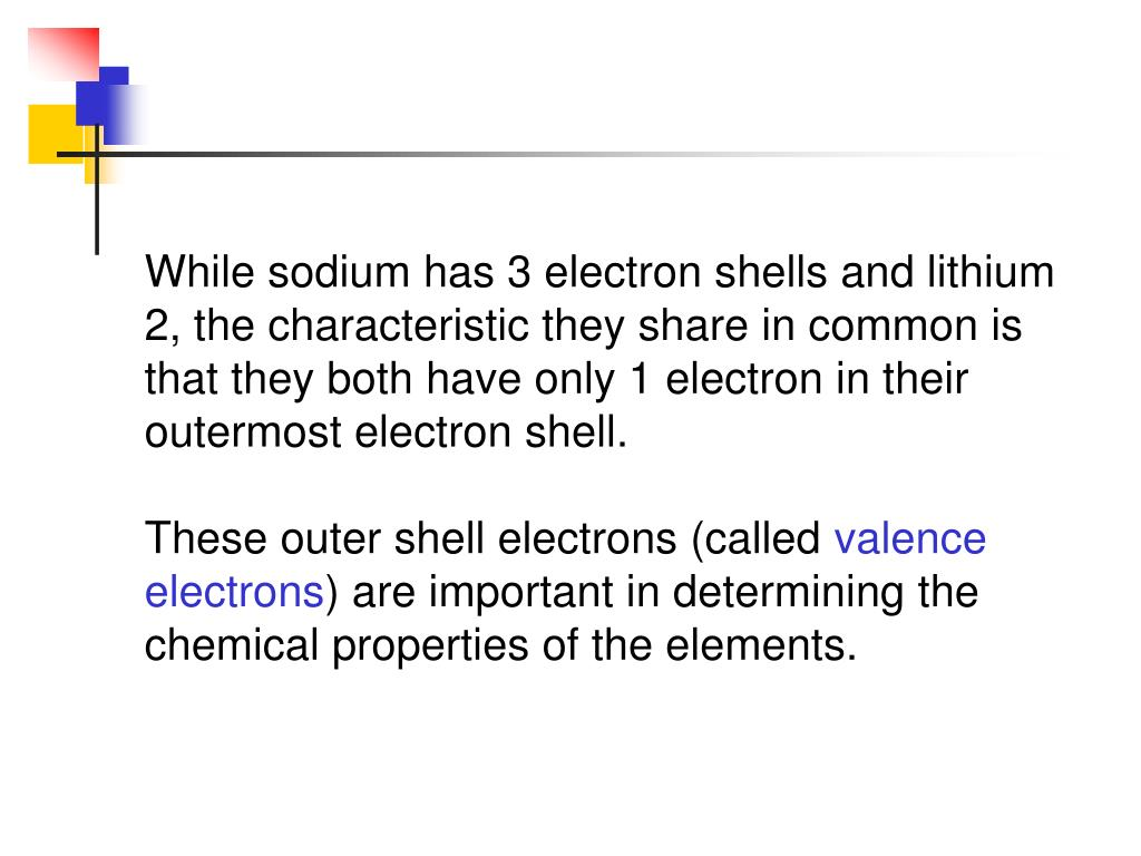 While sodium has 3 electron shells and lithium 2, the characteristic they share in common is that they both have only 1 electron in their outermost electron shell.