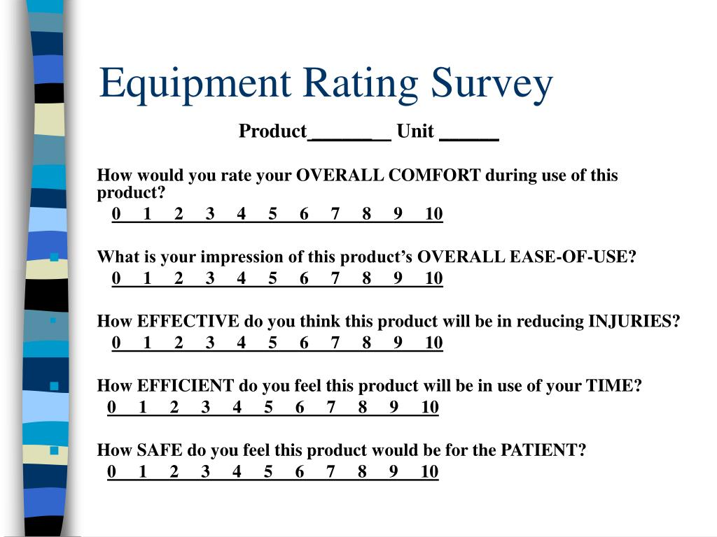 Equipment Rating Survey