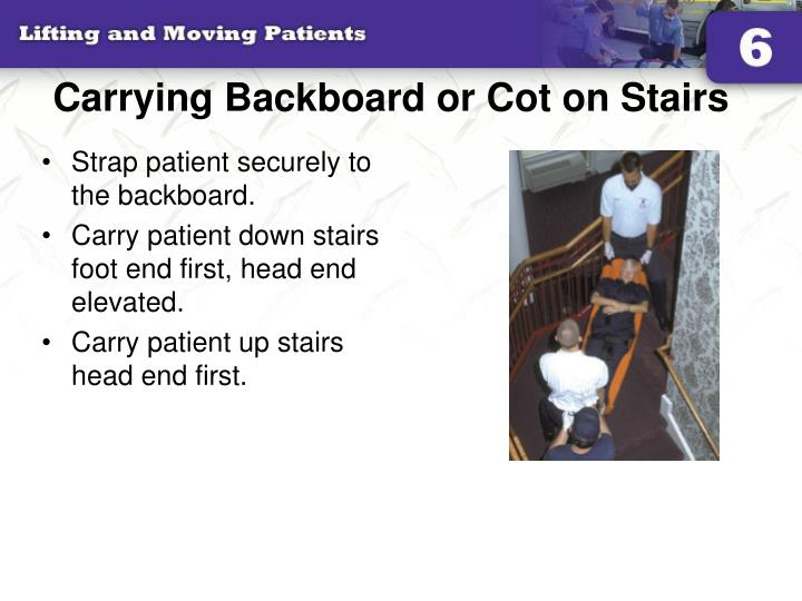 Carrying backboard or cot on stairs l.jpg