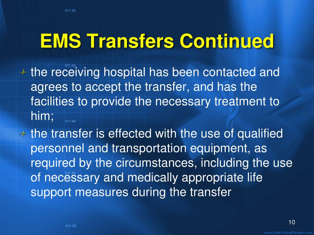EMS Transfers Continued