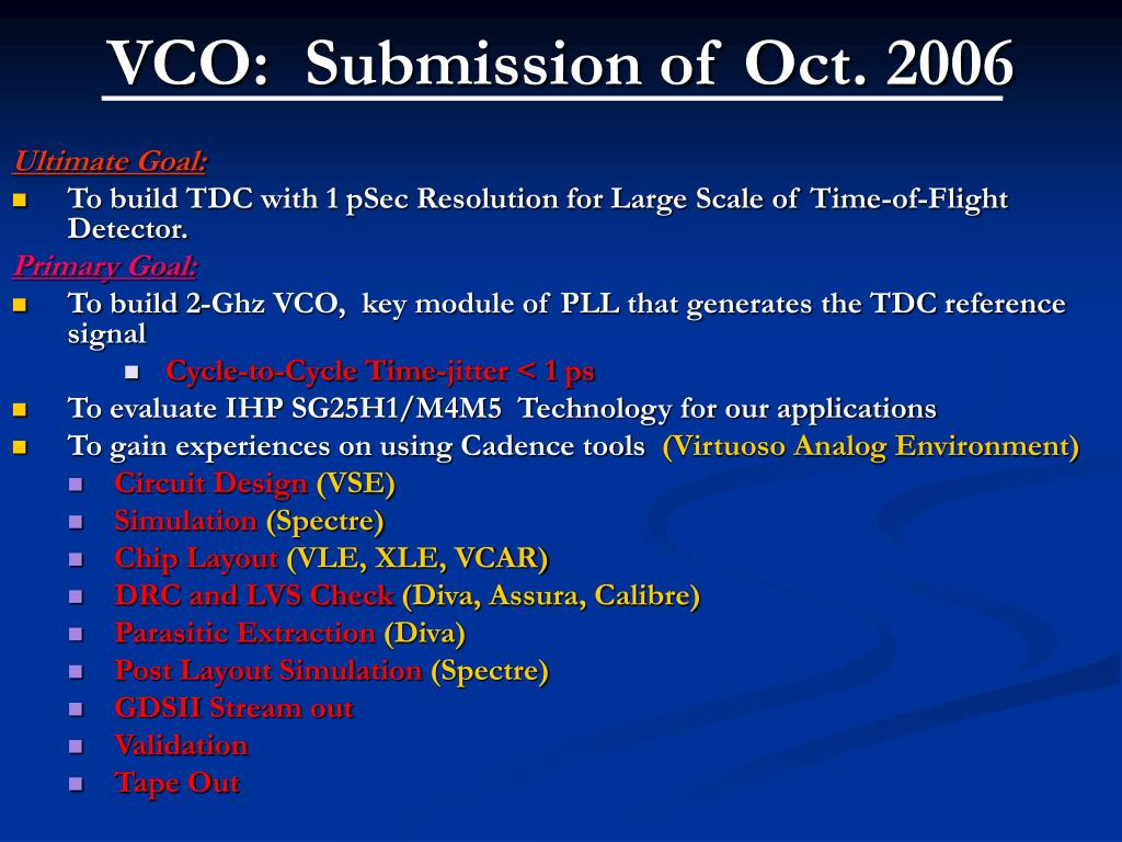 VCO:  Submission of Oct. 2006