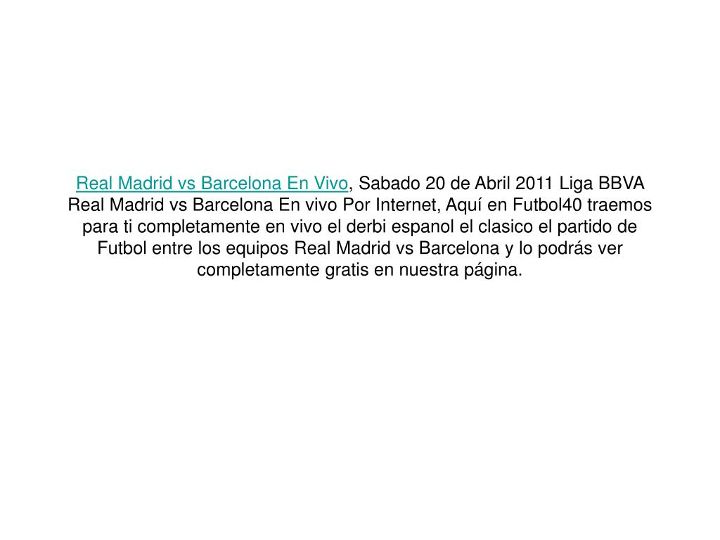 Real Madrid vs Barcelona En Vivo