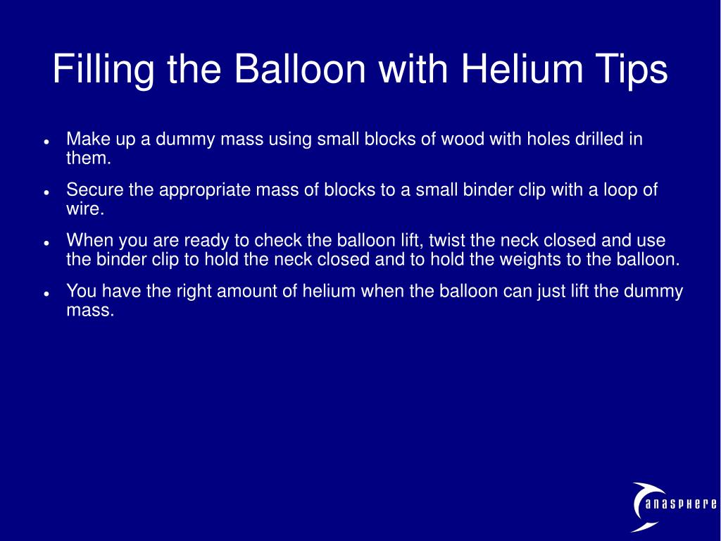 Filling the Balloon with Helium Tips