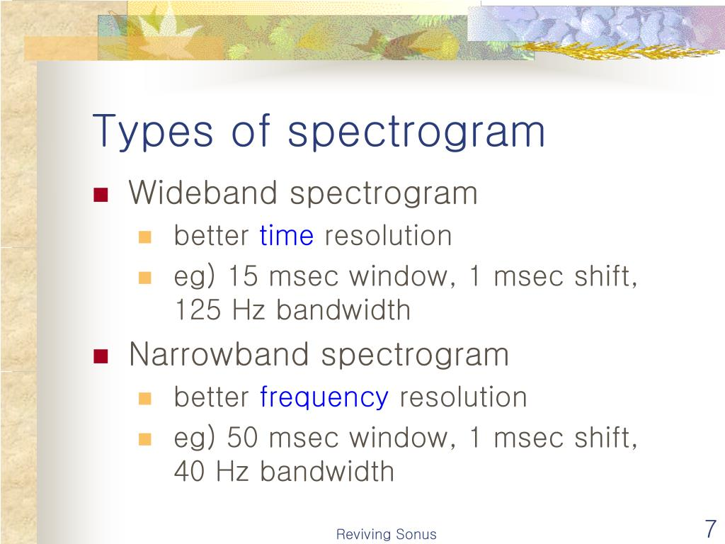 Types of spectrogram