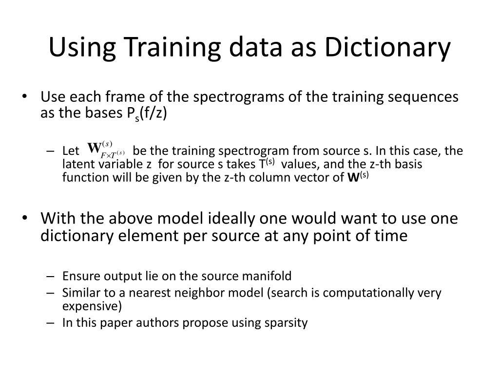 Using Training data as Dictionary