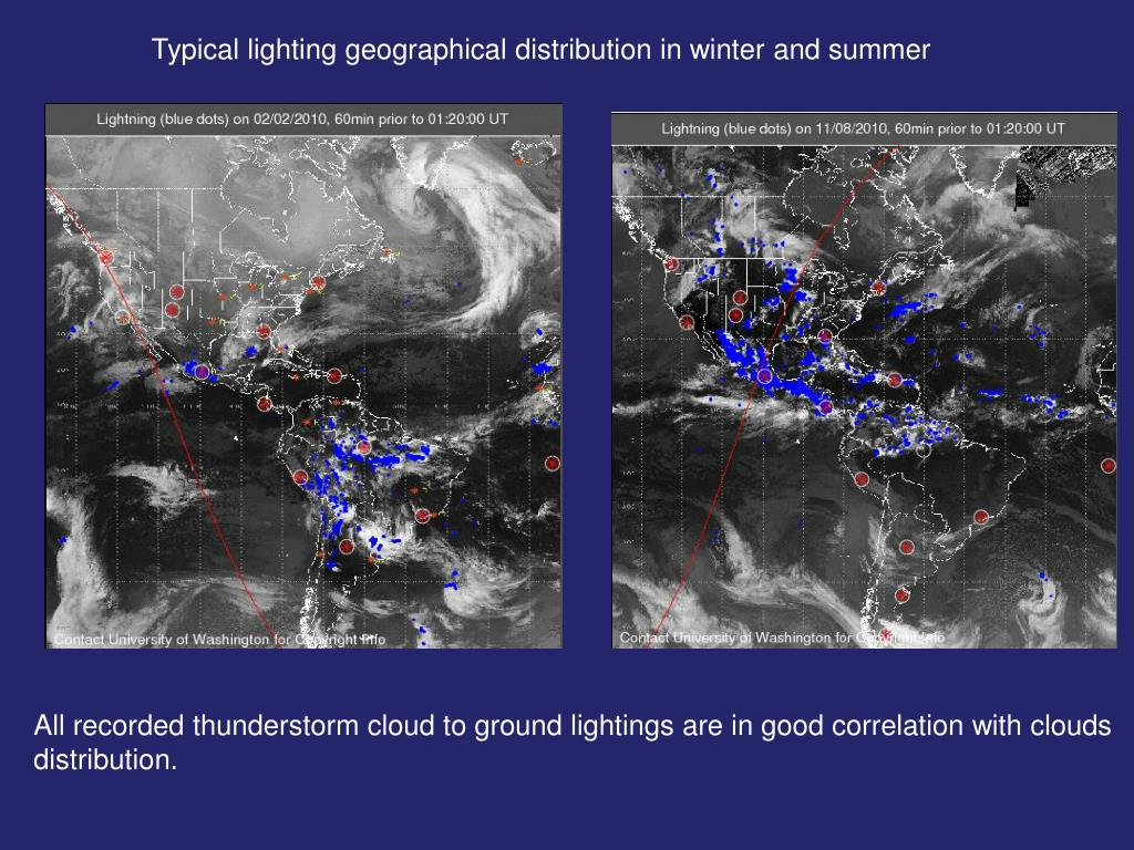 Typical lighting geographical distribution in winter and summer