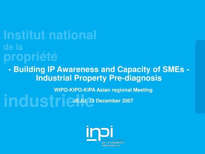 Building ip awareness and capacity of smes industrial property pre diagnosis