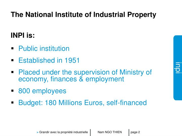 The national institute of industrial property