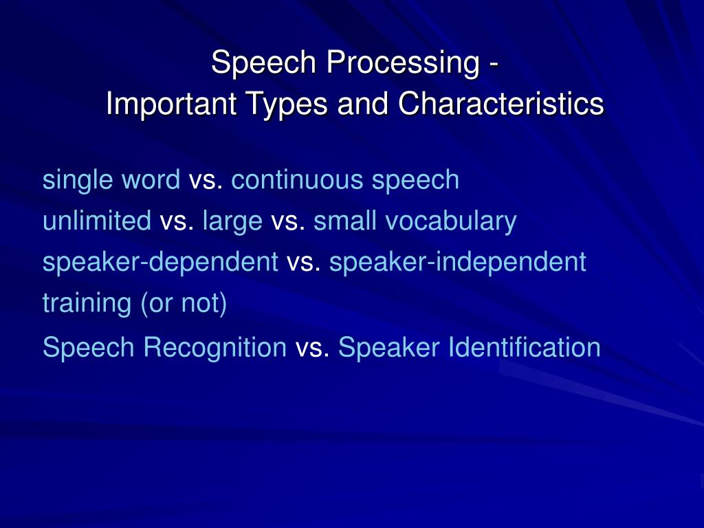 Speech Processing -