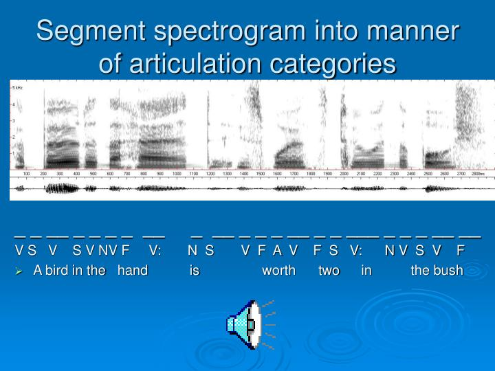 Segment spectrogram into manner of articulation categories