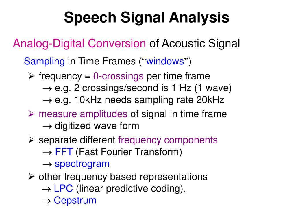 Speech Signal Analysis