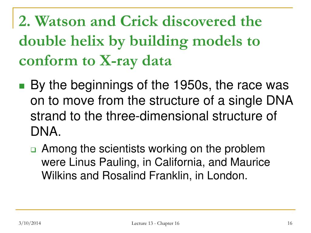 2. Watson and Crick discovered the double helix by building models to conform to X-ray data