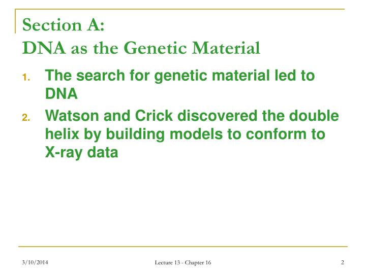 Section a dna as the genetic material l.jpg