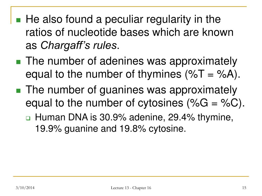 He also found a peculiar regularity in the ratios of nucleotide bases which are known as
