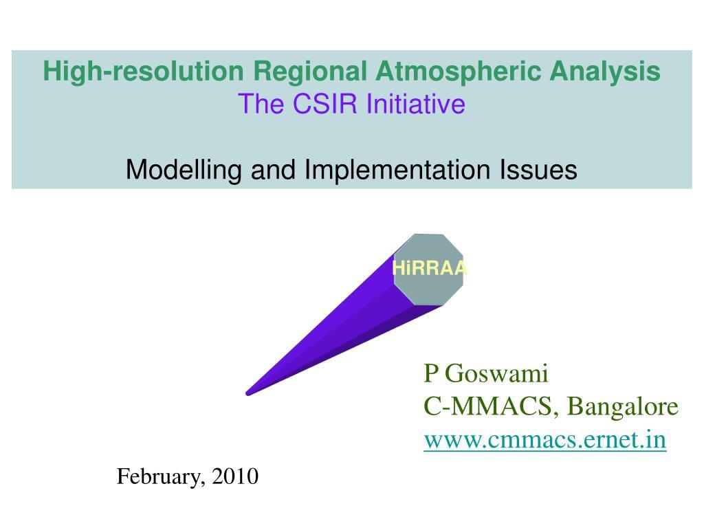 High-resolution Regional Atmospheric Analysis