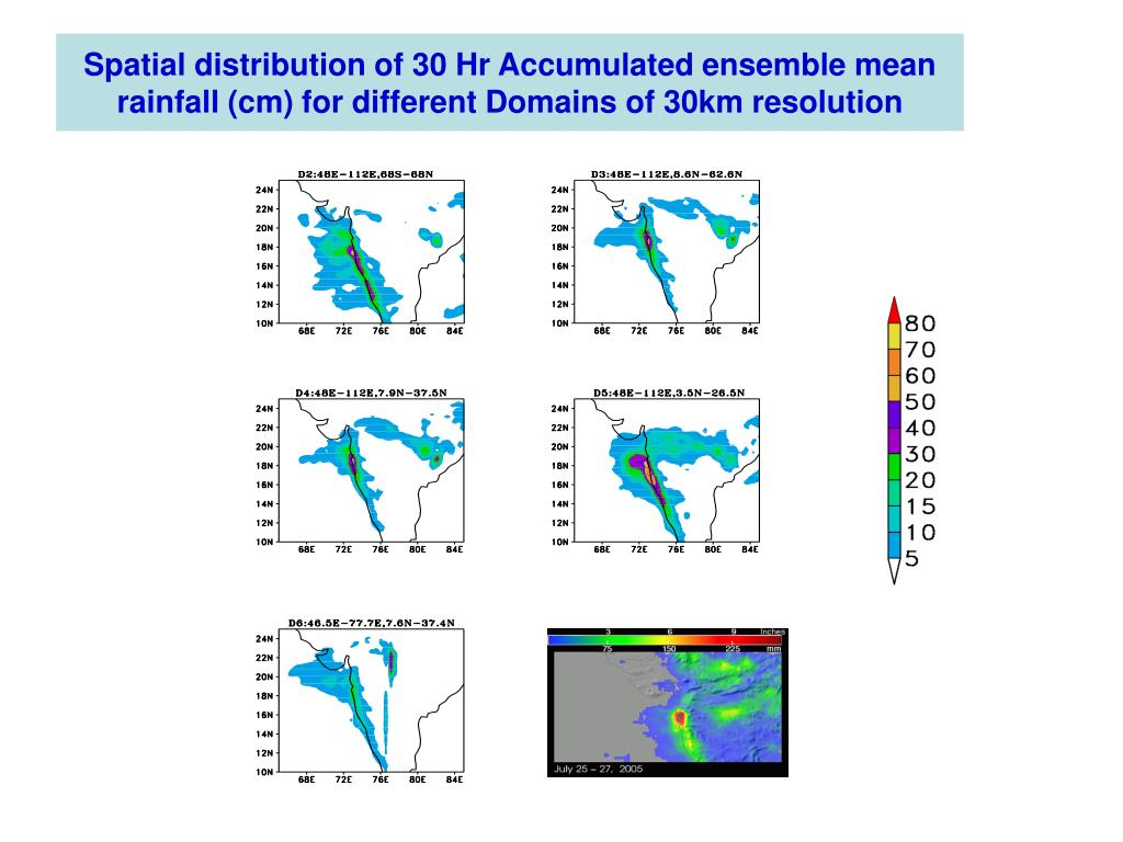 Spatial distribution of 30 Hr Accumulated ensemble mean rainfall (cm) for different Domains of 30km resolution